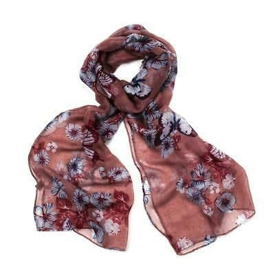 F & J Collection Floral and Butterfly Design Scalf  In Pink- Poppy Accessories